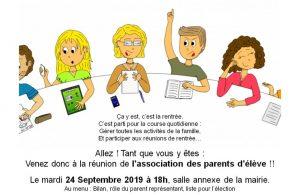 Réunion association des parents d'élèves de l'école Max Savy